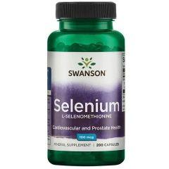 Swanson Selenium L-Selenomethionine Селен Л-селенометионин 100 мкг х200 капсули