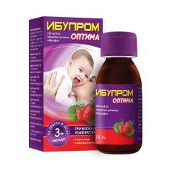 Ибупром Оптима Сироп за кърмачета и деца при температура и болка 200 мг/ 5 мл с вкус на ягода x100 мл US Pharmacia