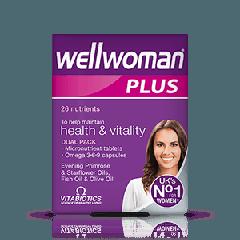 Vitabiotics Wellwoman Plus Витамини + Омега 3, 6, 9 за повече жизненост и добро здраве при жените x 28 таблетки + 28 капсули