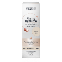 Pharmatheiss Cosmetic Pharma Hyaluron Тониращ анти-ейдж флуид за лице с матиращ ефект SPF20, цвят Medium 50 мл