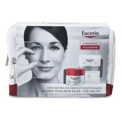 Eucerin Hyaluron-Filler + Volume-Lift Дневен крем за суха кожа SPF15 50 мл + Подарък: Eucerin Hyaluron-Filler Хидратираща лист маска за лице + Подарък: Несесер Комплект