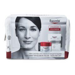 Eucerin Hyaluron-Filler + Volume-Lift Дневен крем за нормална към комбинирана кожа SPF15 50 мл + Подарък: Eucerin Hyaluron-Filler Хидратираща лист маска за лице + Подарък: Несесер Комплект
