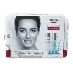 Eucerin Hyaluron-Filler Дневен крем за нормална и комбинирана кожа SPF15 50 мл + Eucerin Hyaluron-Filler Ултралек хидратиращ гел-бустер за лице 30 мл + Подарък: Несесер Комплект
