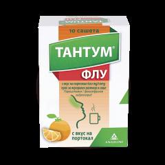Тантум Флу при настинка и грип, с вкус на портокал 600мг/10мг х 10 сашета Angelini