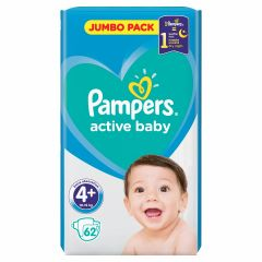 Пелени Pampers Active Baby Jumbo Pack Размер 4 Maxi+ 62 бр