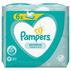 Pampers Sensitive Fragrance Free Бебешки мокри кърпички 6x12 бр