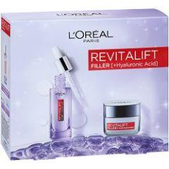 Loreal Revitalift Filler Серум за лице против бръчки с хиалуронова киселина 30 мл + Loreal Revitalift Filler Renew Дневен крем за лице против бръчки 50 мл Комплект
