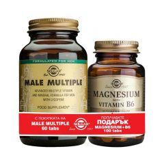 Solgar Male Multiple+Solgar Magnesium with Vitamin B6 Мултивитамини за мъже х60 таблетки + подарък Магнезий+Витамин B6 х100 таблетки