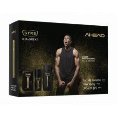 STR8 Ahead EDT Тоалетна вода за мъже 50 мл + STR8 Ahead Мъжки дезодорант-спрей за тяло 150 мл + STR8 Ahead Освежаващ душ гел за тяло за мъже 250 мл