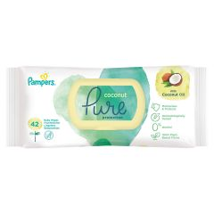 Pampers Coconut Pure protection Baby Wipes Бебешки мокри кърпички 42 бр