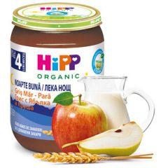 "Hipp био млечна каша ""Лека нощ"" с грис, ябълки и круши 4М+ 190 гр"