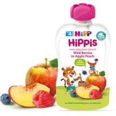 Hipp Hippis забавна закуска горски плод, ябълка и праскова 4М+ 100 гр