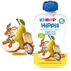 Hipp Hippis забавна закуска круша, ябълка и бебешки сухари 4М+ 100 гр