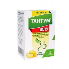Тантум Флу при грип и настинка с вкус на лимон 600 мг/10 мг х 10 сашета Angelini