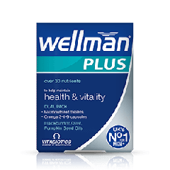 Vitabiotics Wellman Plus Витамини + Омега 3, 6, 9 за повече жизненост и добро здраве на мъжете x 28 таблетки + 28 капсули